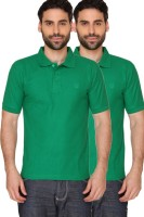 Blacksmith Solid Men's Polo Neck Green T-Shirt(Pack of 2)