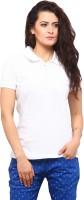 Yepme Solid Womens Flap Collar Neck White T-Shirt