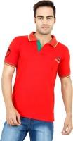 Denzor Solid Men Polo Neck Red T-Shirt