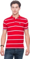 Mufti Striped Men Polo Neck Red T-Shirt
