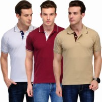 Scott International Solid Men's Polo Neck White, Maroon, Beige T-Shirt(Pack of 3)