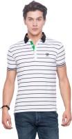 Mufti Striped Men Polo Neck White T-Shirt