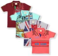 Tonyboy Boys Printed Cotton T Shirt(Multicolor)