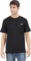 Crystal Solid Men's Round Neck Black T-Shirt