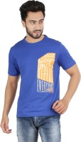 Checkers Bay Printed Men's Round Neck Blue T-Shirt