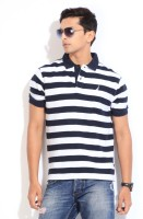 Nautica Striped Men's Polo Neck Dark Blue, White T-Shirt