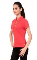 Texco Printed Womens Polo Neck Yellow T-Shirt