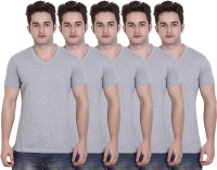 LUCfashion Solid Mens V-neck Grey T-Shirt(Pack of 5)