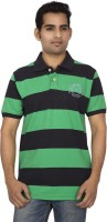Red Line Striped Men Polo Neck Green, Blue T-Shirt
