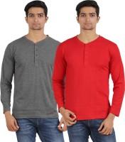 Arowana Solid Mens Henley Grey, Red T-Shirt(Pack of 2)