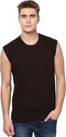 Izinc Solid Men Round Neck Brown T-Shirt
