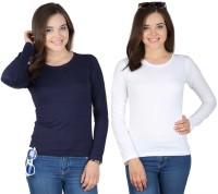 SayItLoud Solid Women's Round Neck Dark Blue, White T-Shirt(Pack of 2)