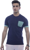 Urban Flux Solid Men Round Neck Green, Blue T-Shirt