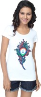 Imagica Printed Women's Round Neck White T-Shirt