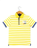 Poppers by Pantaloons Boys Striped T Shirt(Yellow, Pack of 1)