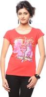 Trendy Girlz Graphic Print Women's Round Neck Red T-Shirt