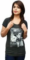 LondonHouze Printed Women's Round Neck Grey T-Shirt