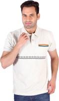 Swag Geometric Print, Striped Men's Polo Neck Multicolor T-Shirt