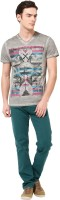MONTEIL & MUNERO Printed Mens V-neck Grey T-Shirt