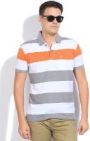John Players Striped Men's Polo Neck Grey, Orange, White T-Shirt