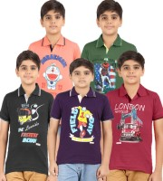 Meril Boys Graphic Print Cotton T Shirt(Multicolor, Pack of 5)