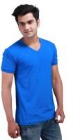 Inkovy Solid Mens V-neck Blue T-Shirt