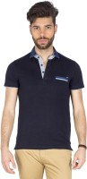 Mufti Solid Men Polo Neck Blue T-Shirt