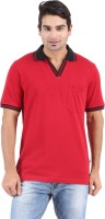 Furore Solid Mens Polo Neck Red T-Shirt