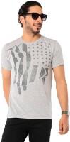 Ebry Printed Mens Round Neck Grey T-Shirt