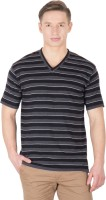 Hypernation Striped Men's V-neck Black, Grey T-Shirt