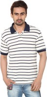 Ruse Striped Mens Polo Neck White, Dark Blue T-Shirt