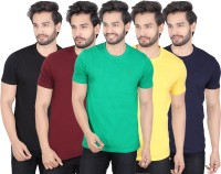 LUCfashion Solid Mens Round Neck Black, Maroon, Green, Yellow, Blue T-Shirt(Pack of 5)
