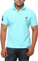 Yross Designs Self Design Men Polo Neck Blue T-Shirt
