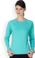 Hypernation Solid Women's Round Neck Blue T-Shirt