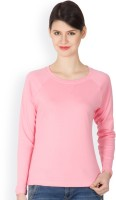Hypernation Solid Women's Round Neck Pink T-Shirt