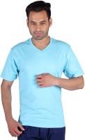 Humbert Solid Mens V-neck Light Blue T-Shirt