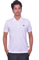 Leaf Solid Men's Polo Neck White T-Shirt