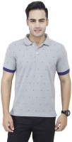 Raw Addict Printed Mens Polo Neck Grey T-Shirt