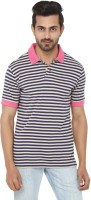 Ruse Striped Mens Polo Neck Blue, Beige T-Shirt