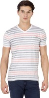 Mufti Striped Men's V-neck Multicolor T-Shirt