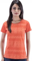 Amadore Printed Women's Round Neck Orange T-Shirt