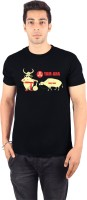 Enquotism Printed Men's Round Neck Black T-Shirt