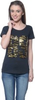 Meira Embroidered Womens Round Neck Black T-Shirt
