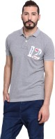 Camino Solid Mens Polo Neck Grey T-Shirt