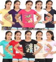 Meril Girls Solid T Shirt(Multicolor)
