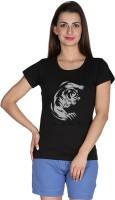 Faireno Printed Womens Round Neck Black T-Shirt