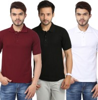 Weardo Solid Mens Polo Neck Black, White, Maroon T-Shirt(Pack of 3)