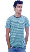 Urban Flux Striped Men Round Neck Green, Grey T-Shirt