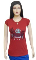 Ultra Fit Printed Women's Round Neck Red T-Shirt