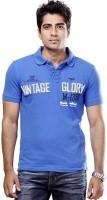 Tog Printed Men's Polo Neck Blue T-Shirt